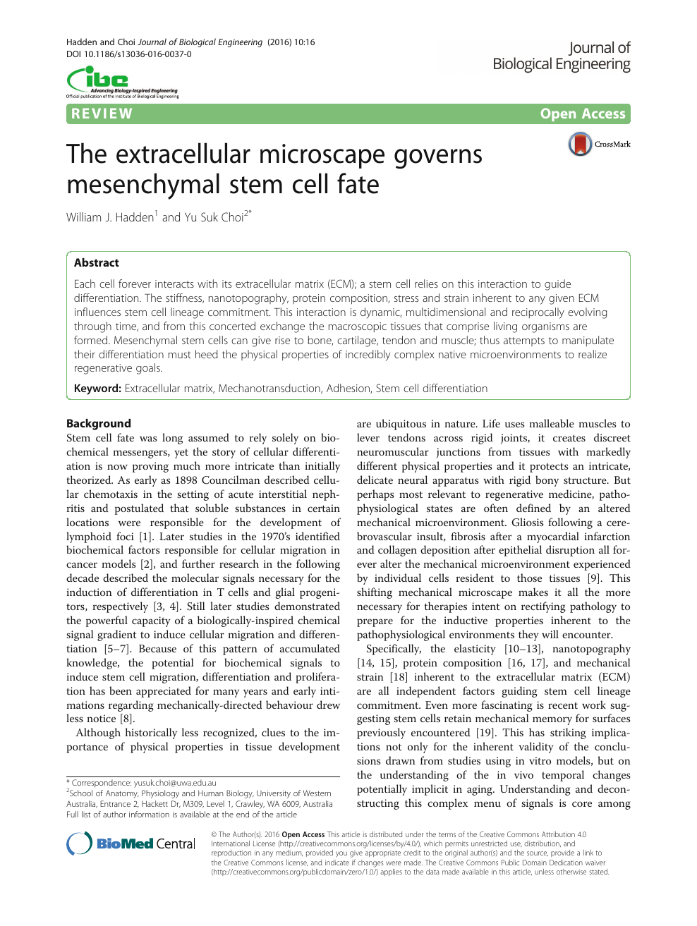 The extracellular microscape governs mesenchymal stem cell fate