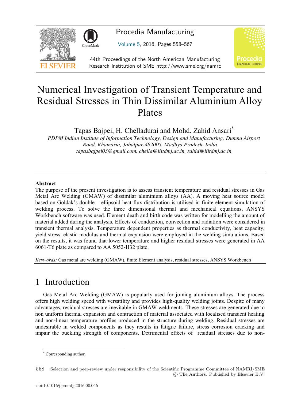 Numerical Investigation of Transient Temperature and