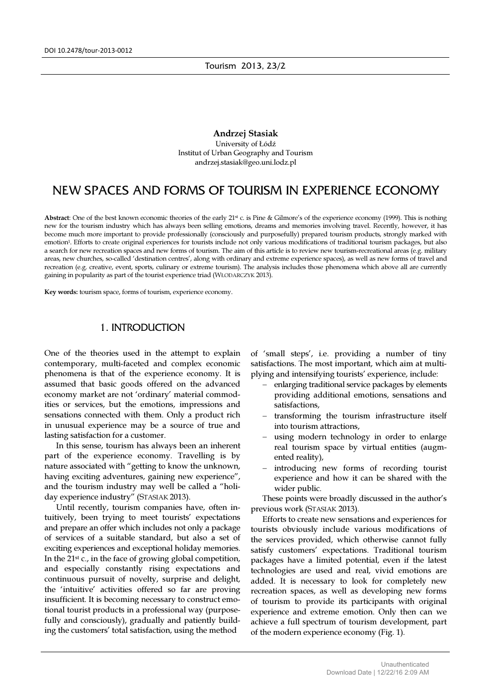 New Spaces and Forms of Tourism in Experience Economy