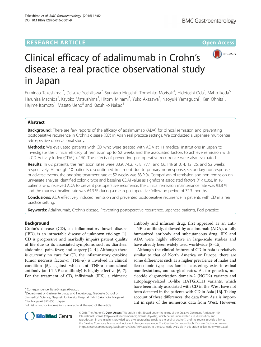 Clinical efficacy of adalimumab in Crohn's disease: a real