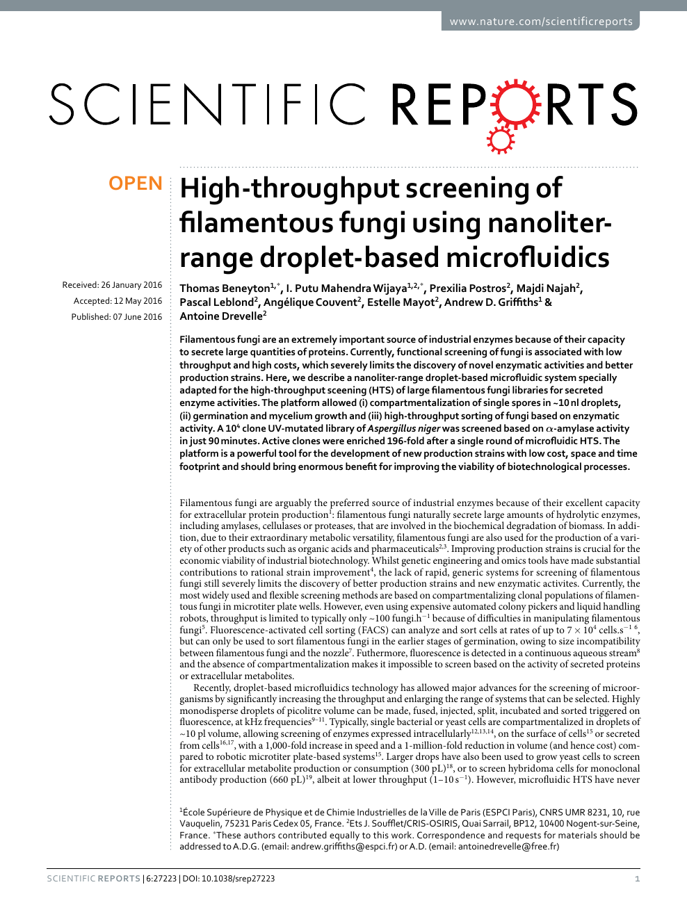 Www Ets Thomas Fr high-throughput screening of filamentous fungi using