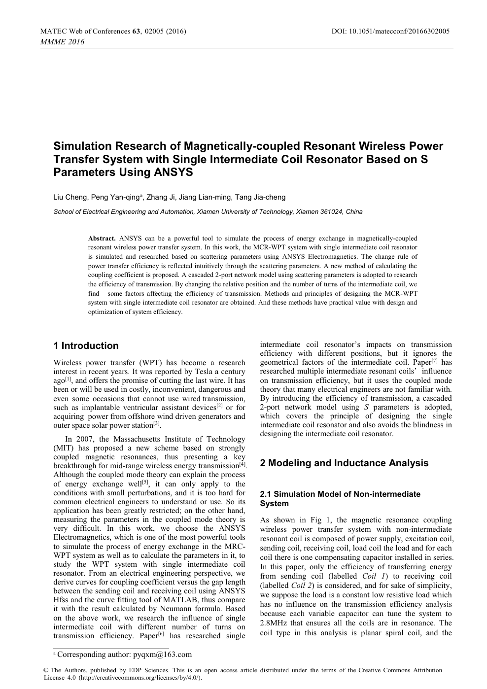 Simulation Research of Magnetically-coupled Resonant