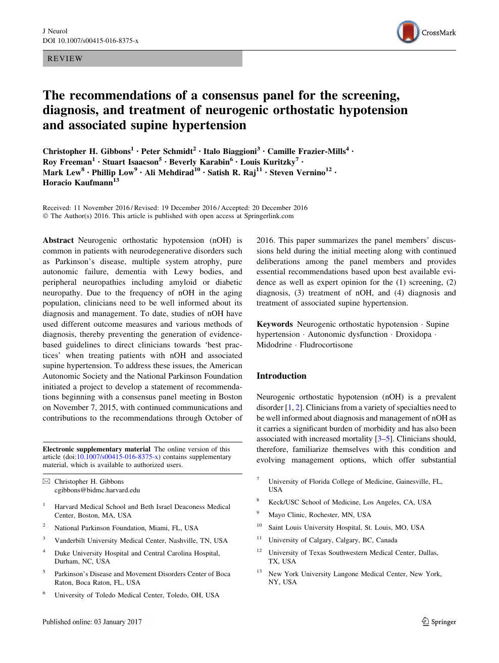 The recommendations of a consensus panel for the screening