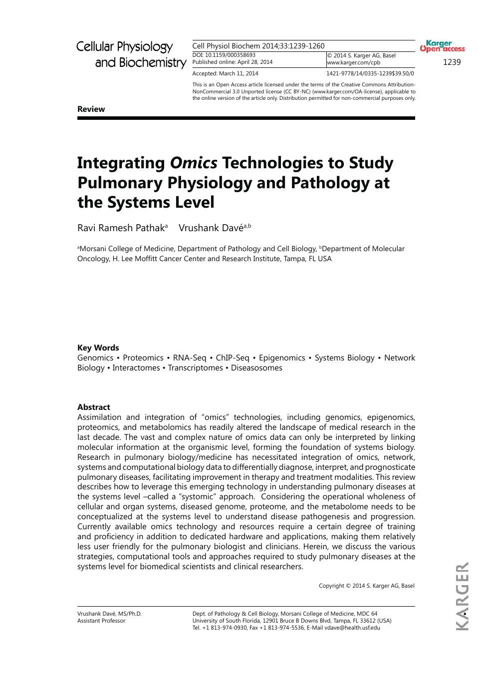 Integrating Omics Technologies to Study Pulmonary Physiology