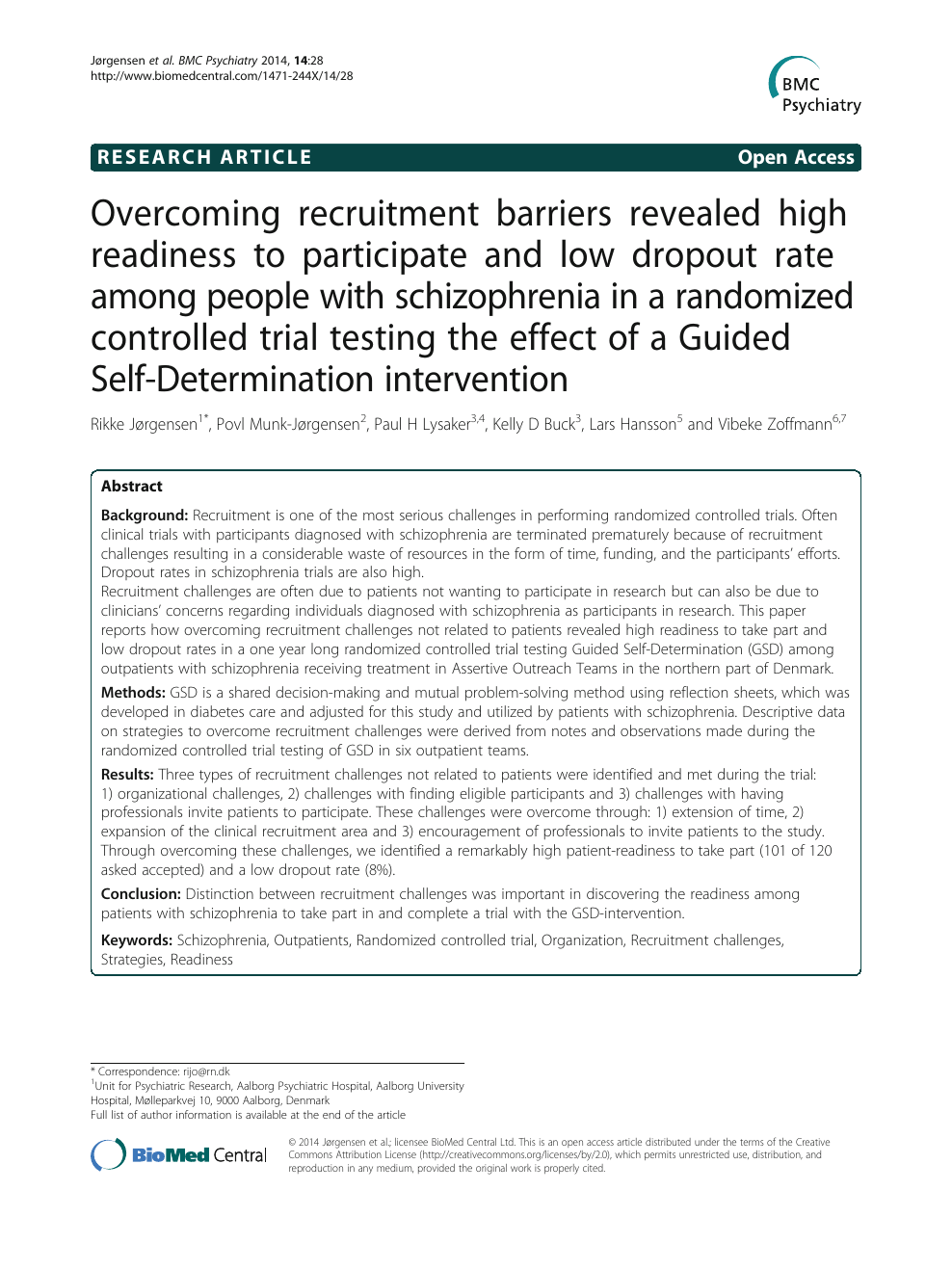 Overcoming recruitment barriers revealed high readiness to