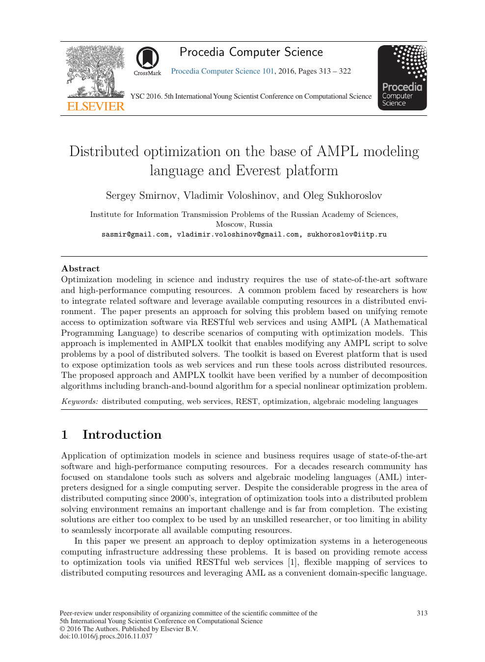 Distributed Optimization on the Base of AMPL Modeling Language and
