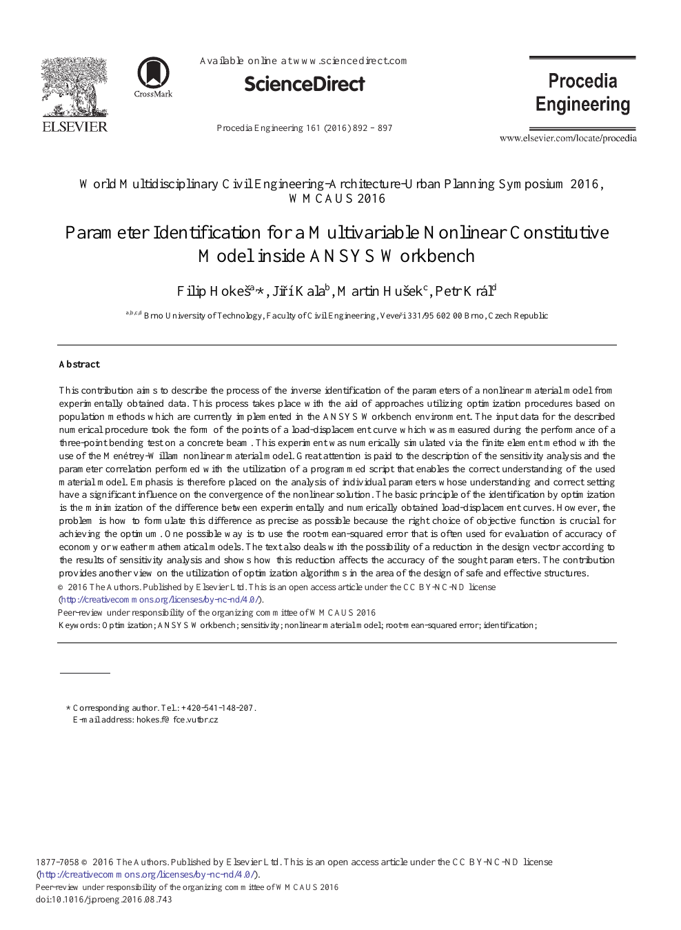 Parameter Identification for a Multivariable Nonlinear