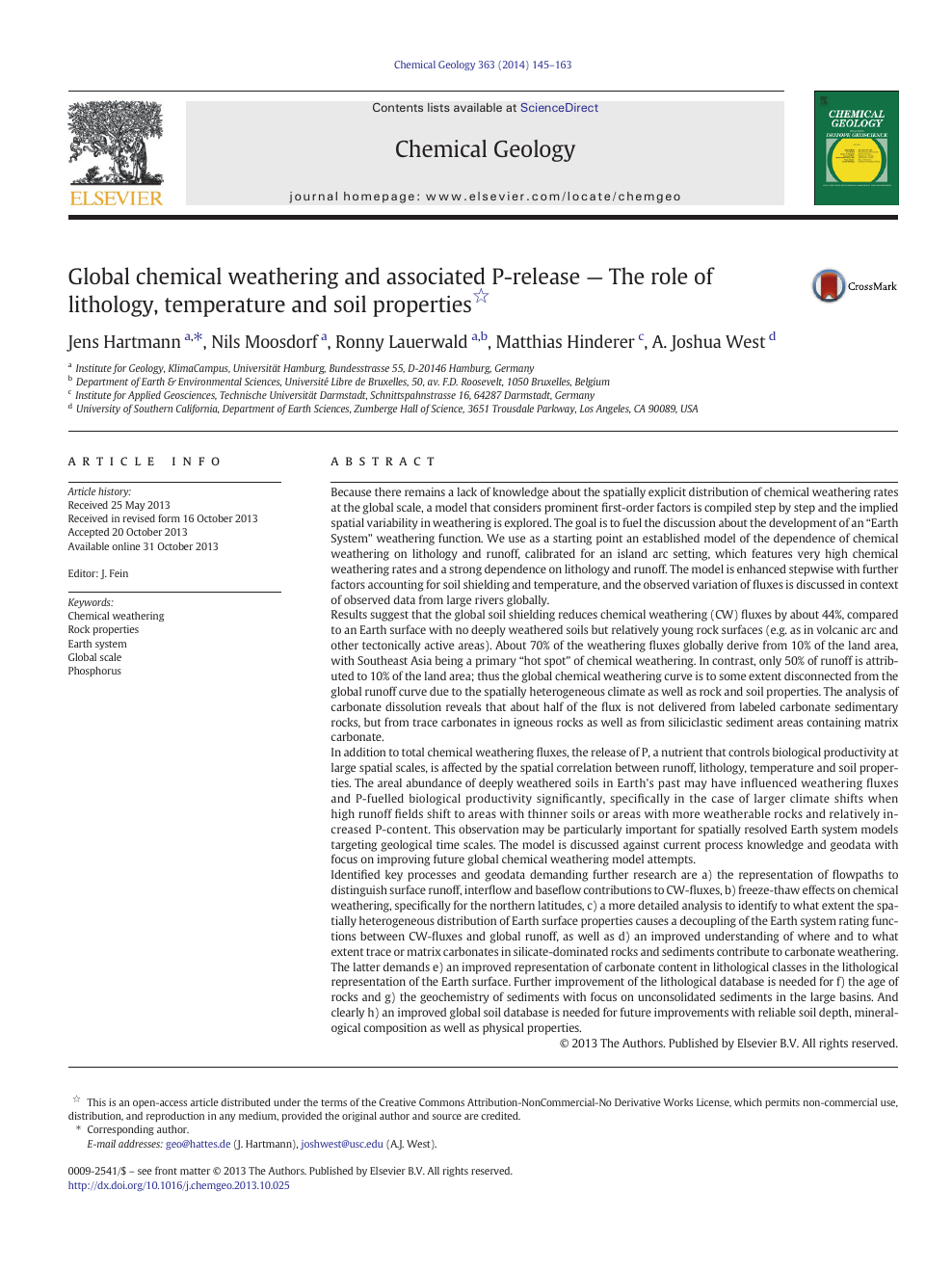 Global chemical weathering and associated P-release — The