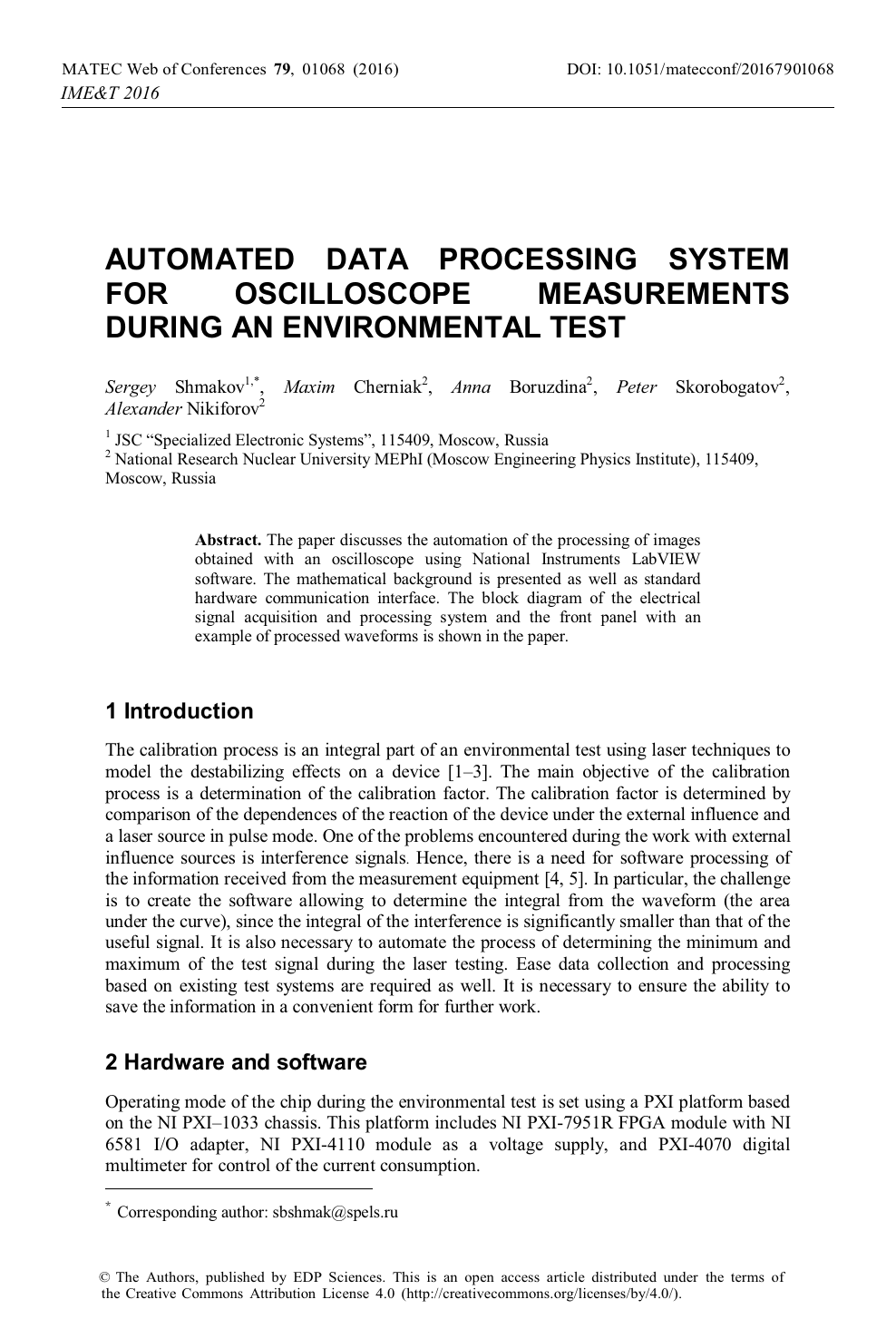 Automated Data Processing System for Oscilloscope Measurements