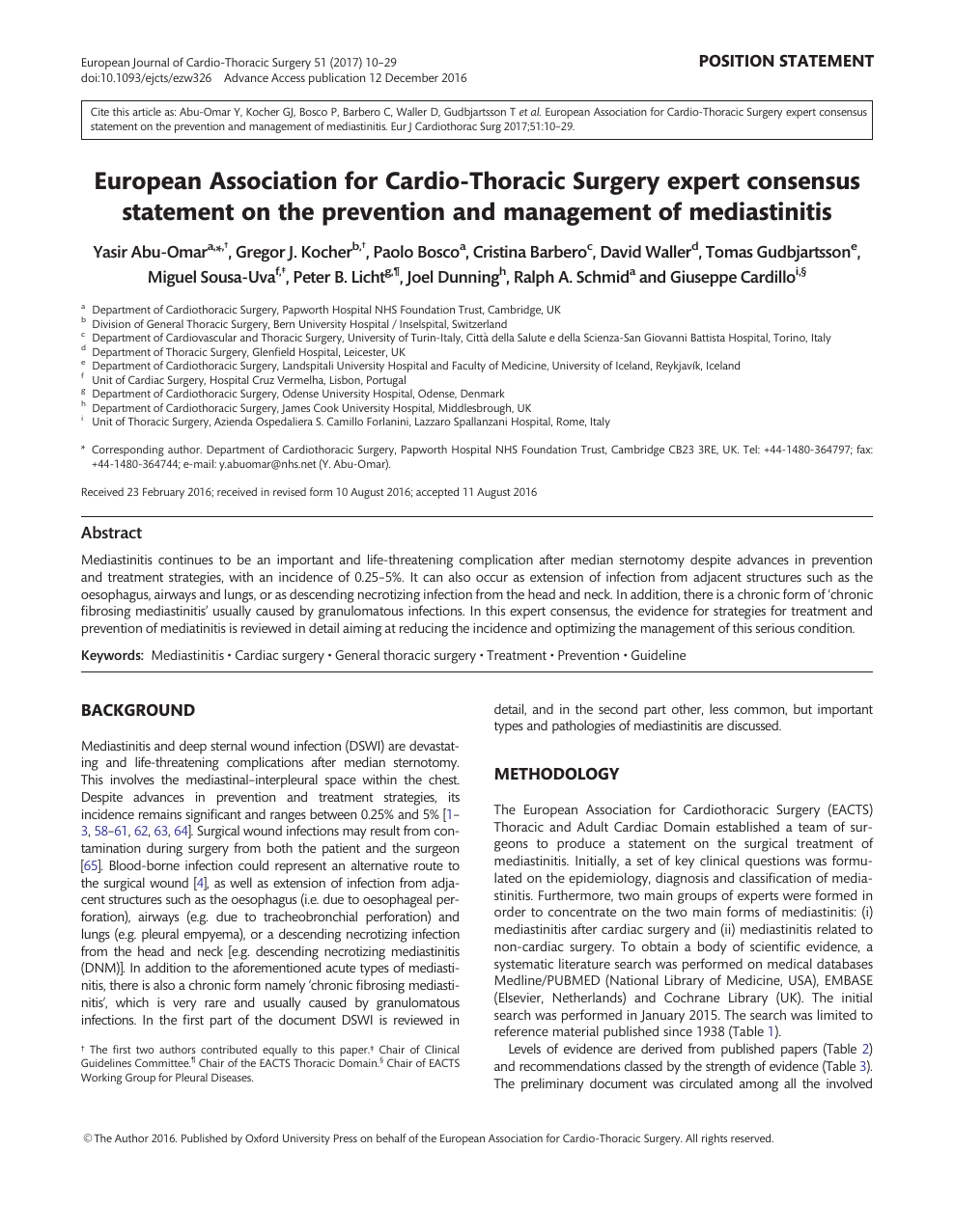 European Association For Cardio Thoracic Surgery Expert Consensus Statement On The Prevention And Management Of Mediastinitis Topic Of Research Paper In Clinical Medicine Download Scholarly Article Pdf And Read For Free On
