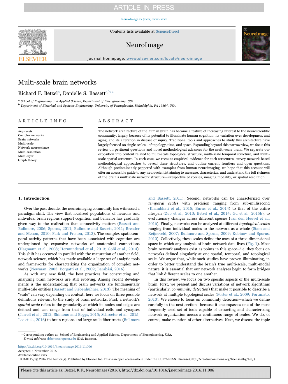 Multi-scale brain networks – topic of research paper in