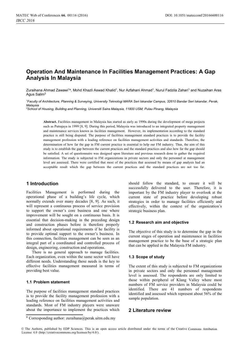 Operation And Maintenance In Facilities Management Practices A Gap Analysis In Malaysia Topic Of Research Paper In Economics And Business Download Scholarly Article Pdf And Read For Free On Cyberleninka Open
