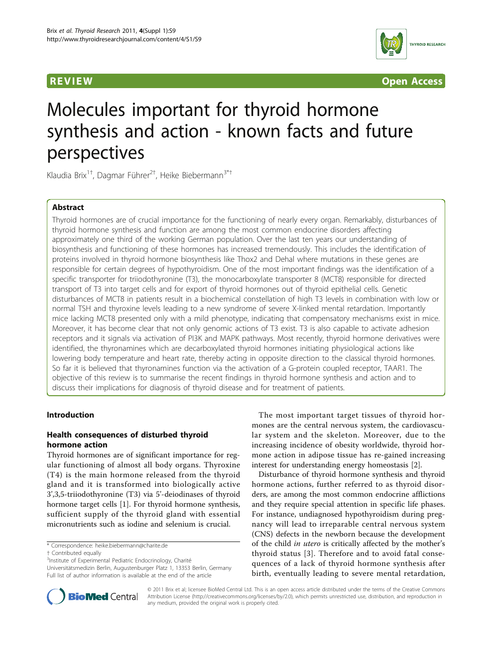 Molecules Important For Thyroid Hormone Synthesis And Action Known Facts And Future Perspectives Topic Of Research Paper In Clinical Medicine Download Scholarly Article Pdf And Read For Free On Cyberleninka