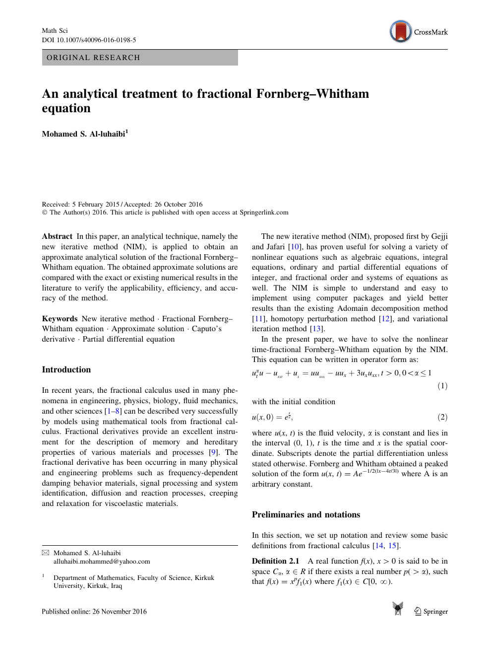 An analytical treatment to fractional Fornberg–Whitham
