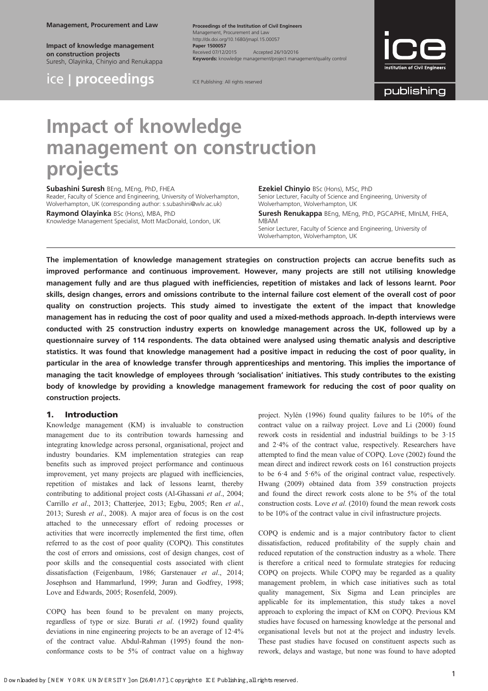 Impact of knowledge management on construction projects