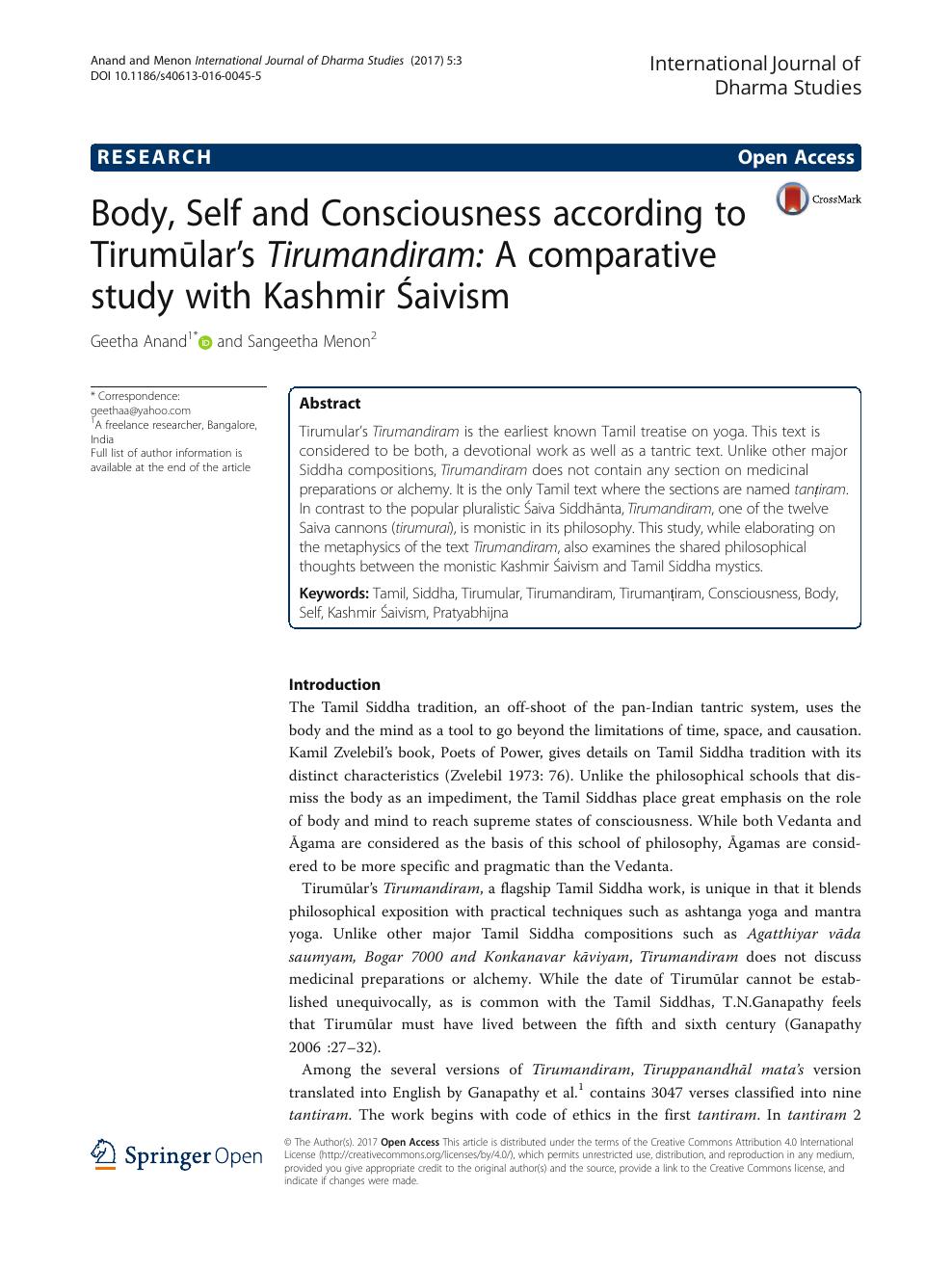 Body, Self and Consciousness according to Tirumūlar's