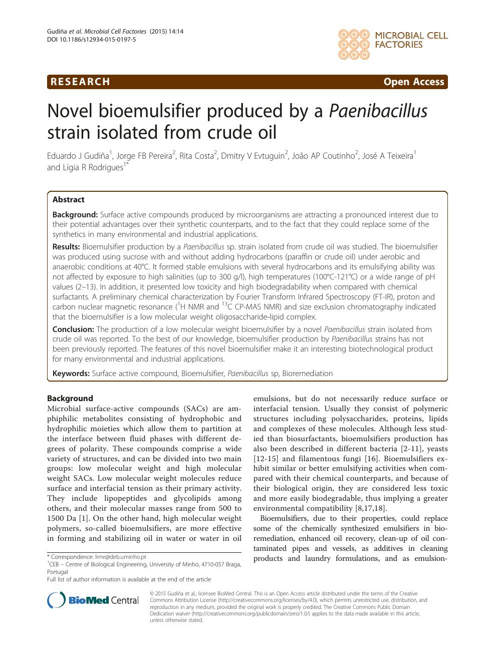 Novel bioemulsifier produced by a Paenibacillus strain
