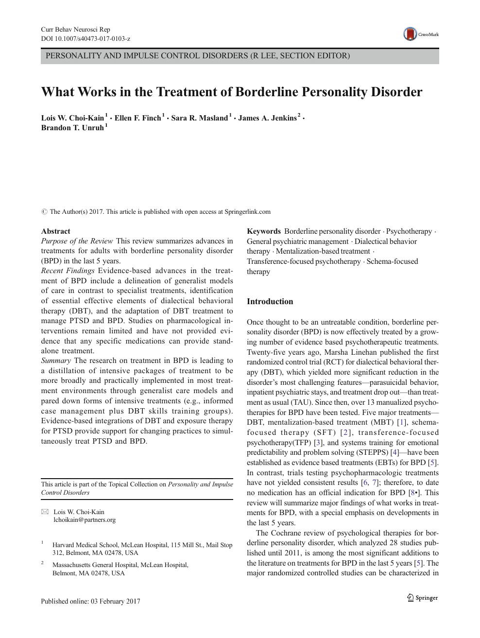 What Works in the Treatment of Borderline Personality