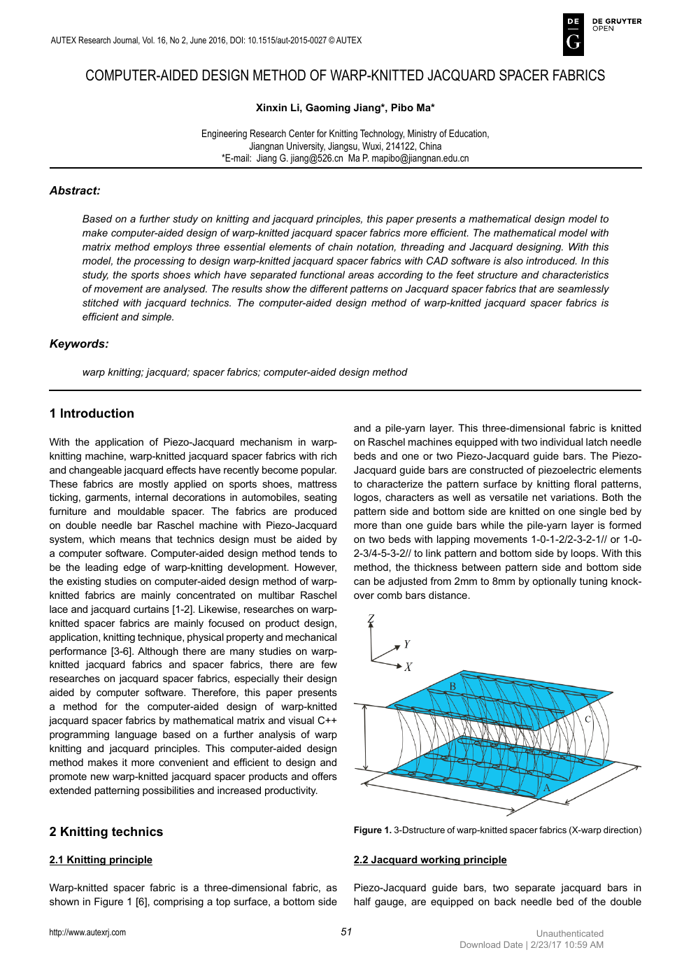Computer Aided Design Method Of Warp Knitted Jacquard Spacer Fabrics Topic Of Research Paper In Mechanical Engineering Download Scholarly Article Pdf And Read For Free On Cyberleninka Open Science Hub