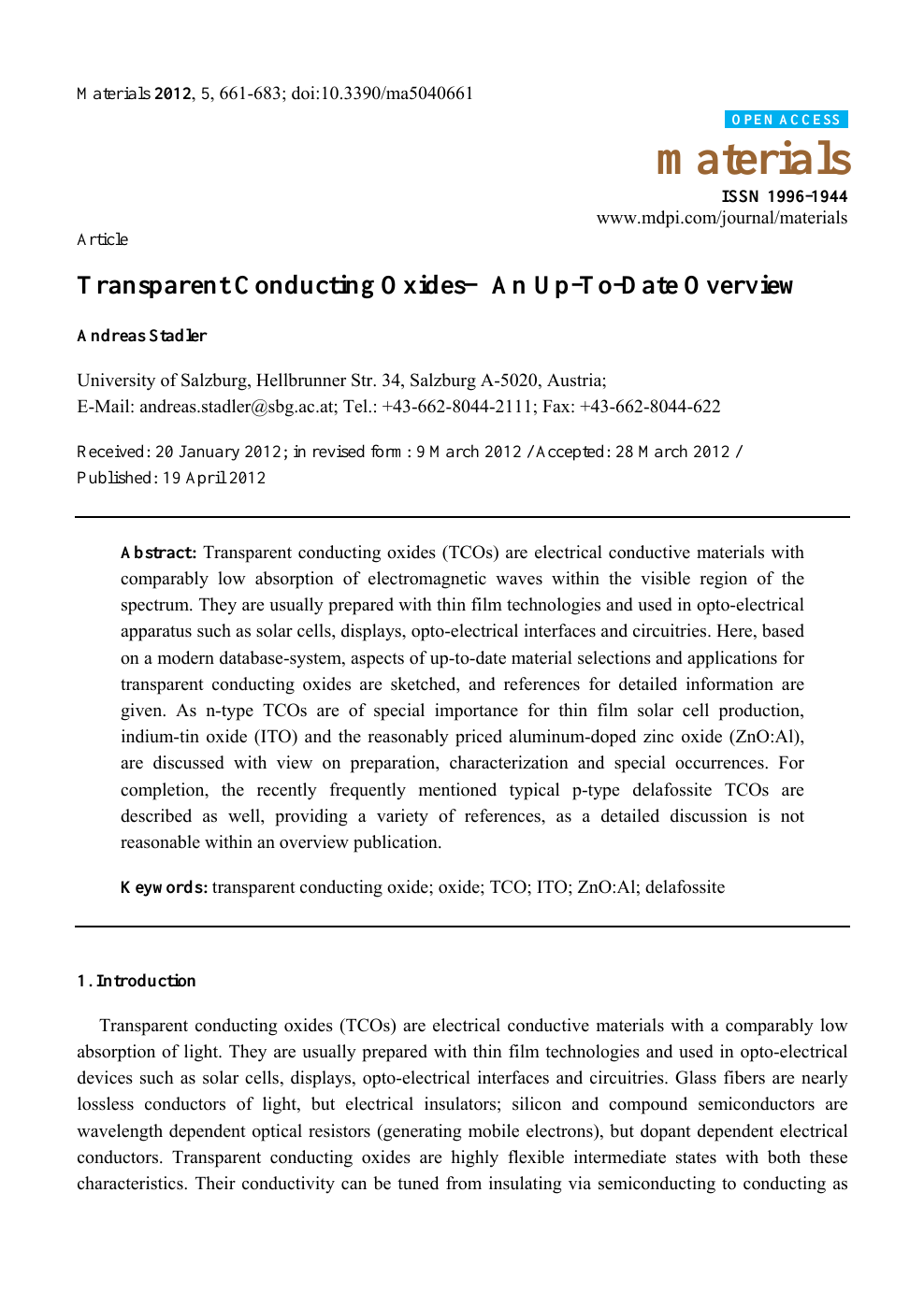 Transparent Conducting Oxides—An Up-To-Date Overview – topic