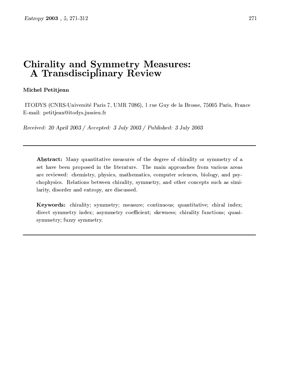 Chirality and Symmetry Measures: A Transdisciplinary Review