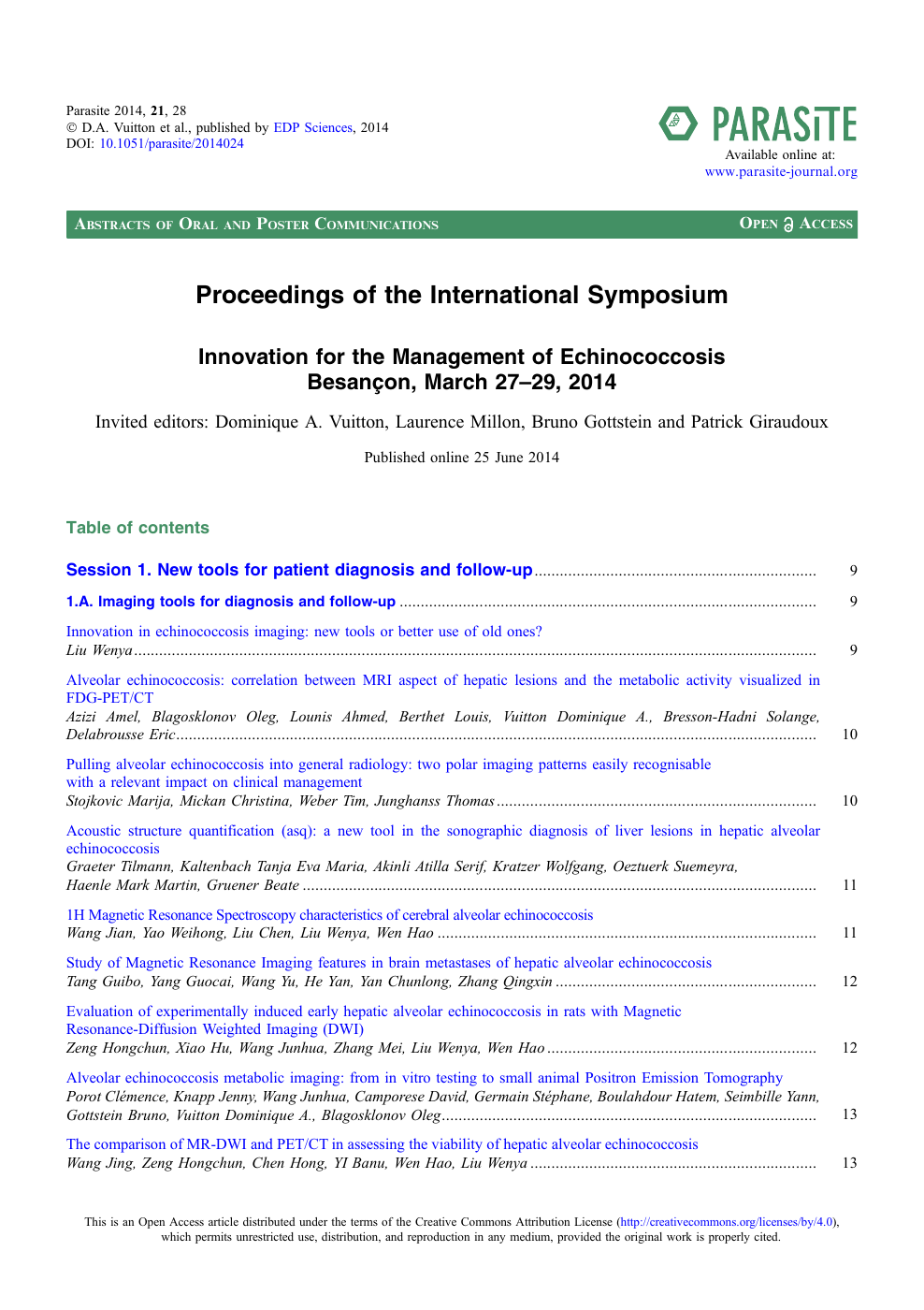 Proceedings of the International Symposium – topic of research paper