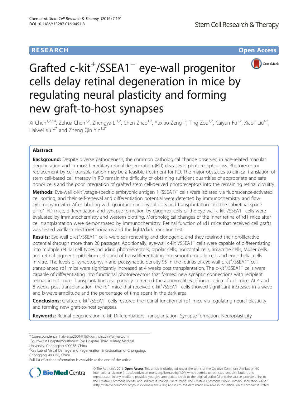 Grafted c-kit+/SSEA1− eye-wall progenitor cells delay