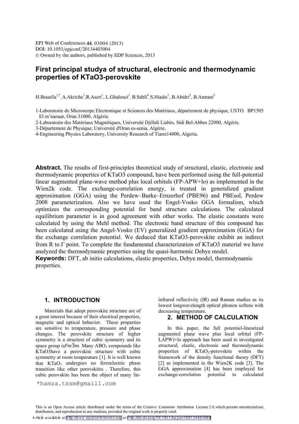 First Principal Studya Of Structural Electronic And Thermodynamic