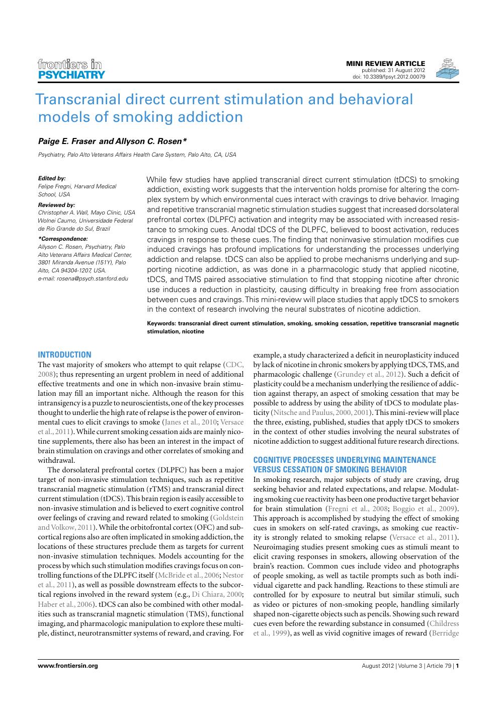 Transcranial Direct Current Stimulation and Behavioral Models of
