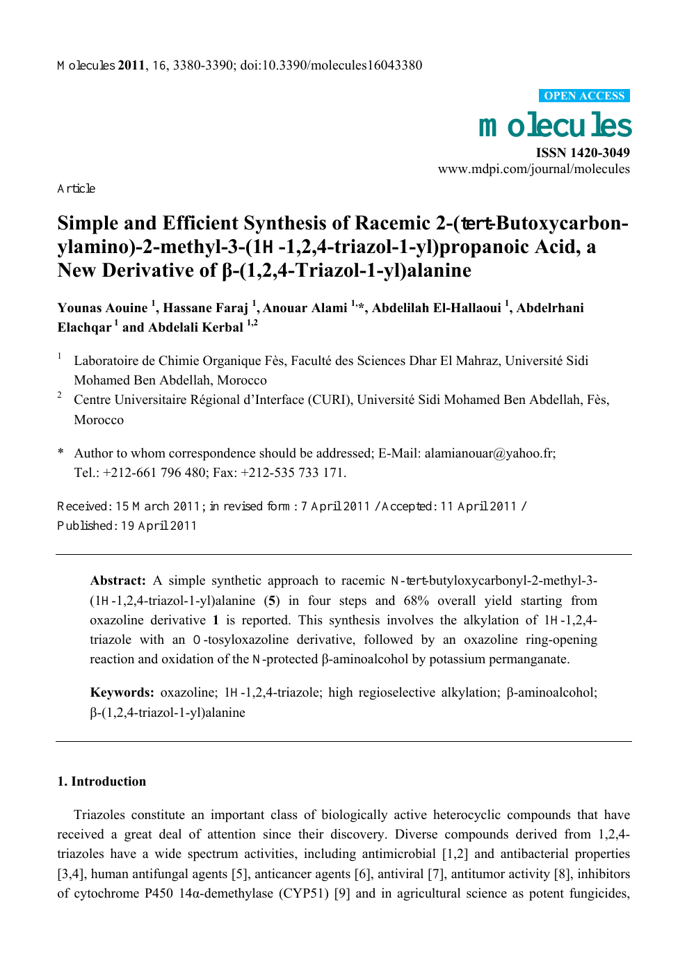 Simple and Efficient Synthesis of Racemic 2-(tert-Butoxycarbon