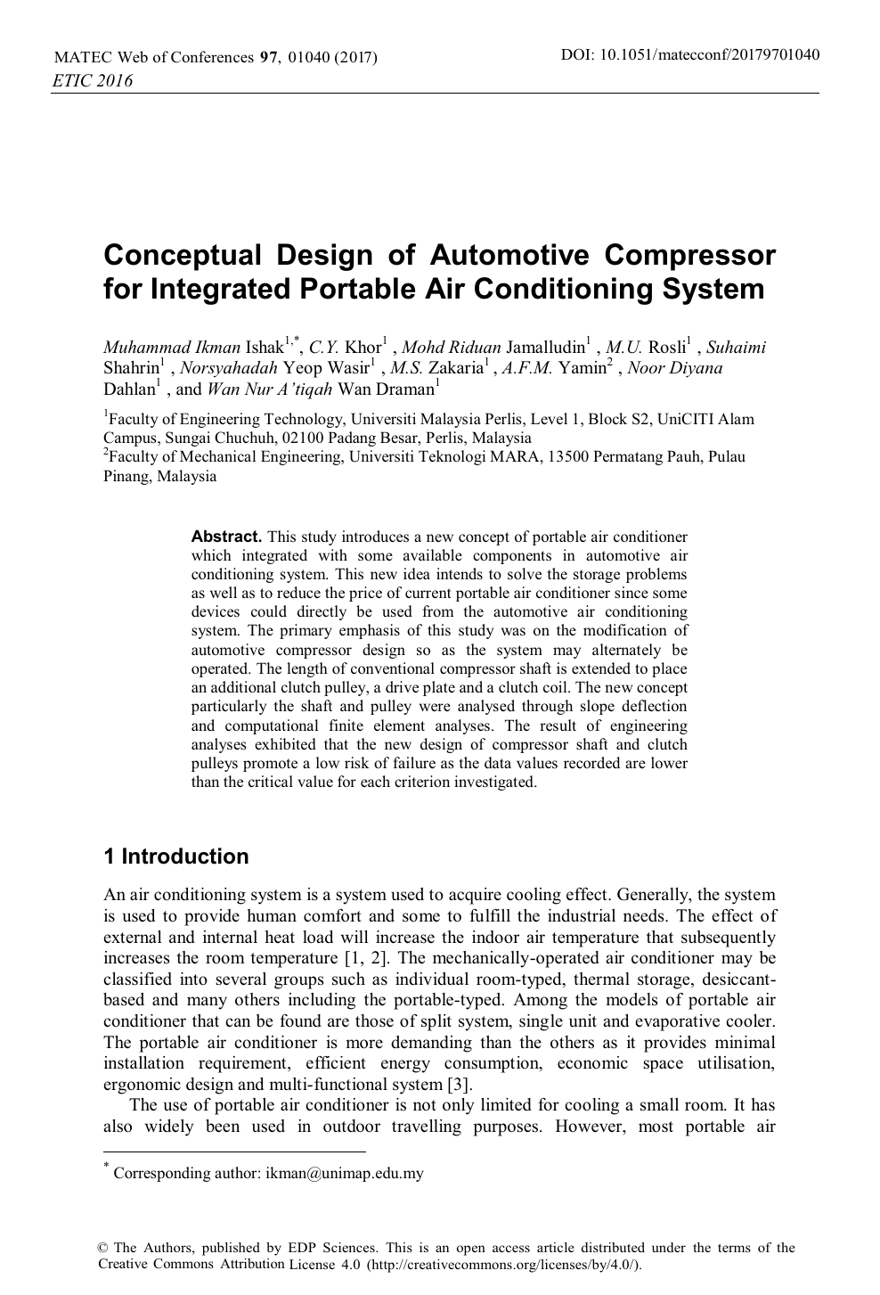 Conceptual Design Of Automotive Compressor For Integrated Portable Air Conditioning System Topic Of Research Paper In Medical Engineering Download Scholarly Article Pdf And Read For Free On Cyberleninka Open Science Hub
