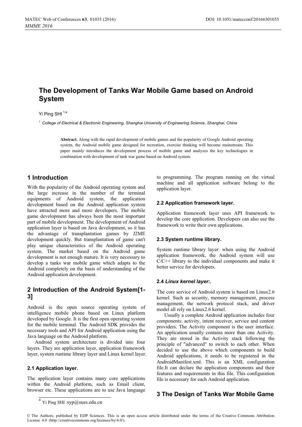 The Development of Tanks War Mobile Game based on Android