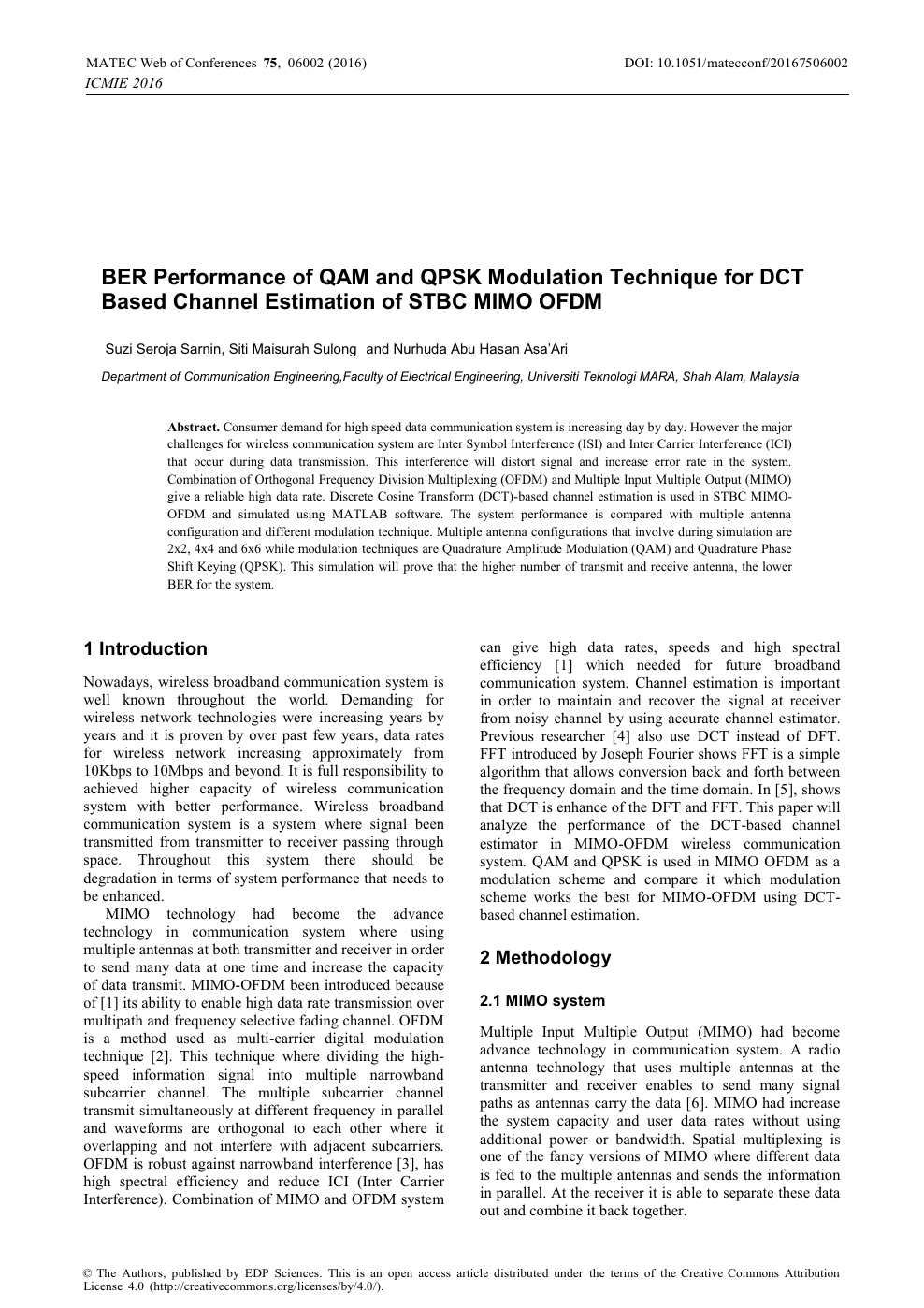 BER Performance of QAM and QPSK Modulation Technique for DCT Based