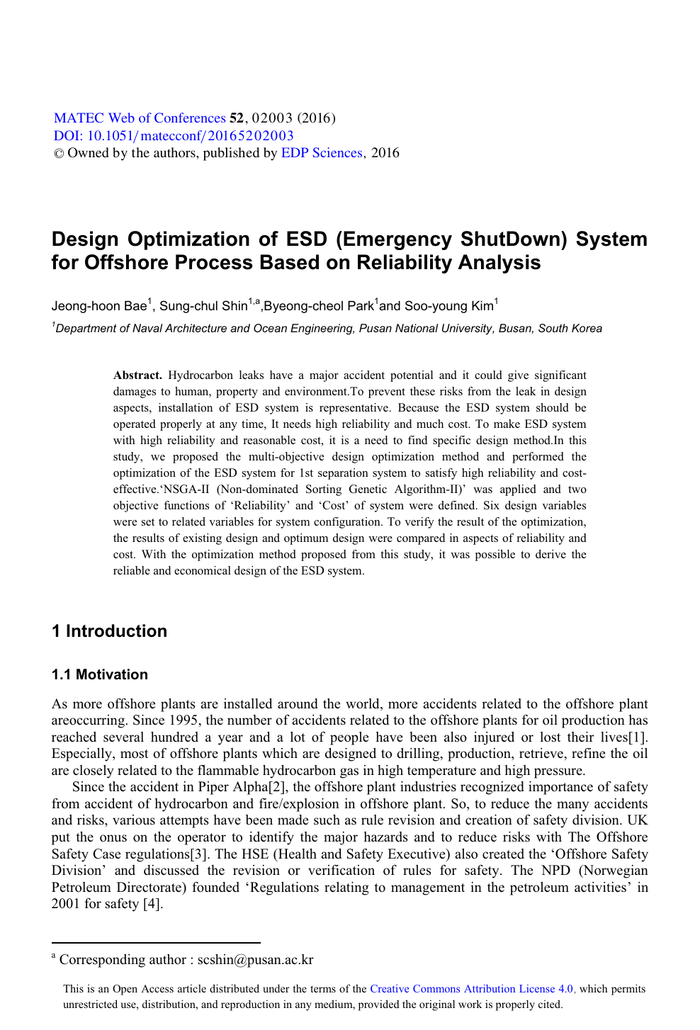Design Optimization Of Esd Emergency Shutdown System For Offshore Process Based On Reliability Analysis Topic Of Research Paper In Mechanical Engineering Download Scholarly Article Pdf And Read For Free On Cyberleninka