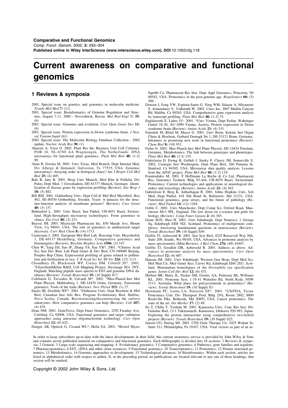24 Rue Daniel Stern 75015 current awareness on comparative and functional genomics