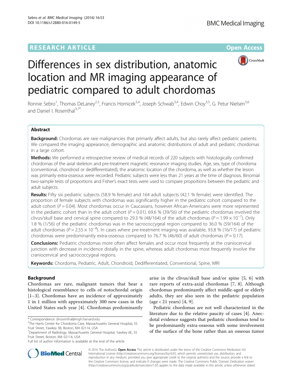 Differences in sex distribution, anatomic location and MR imaging