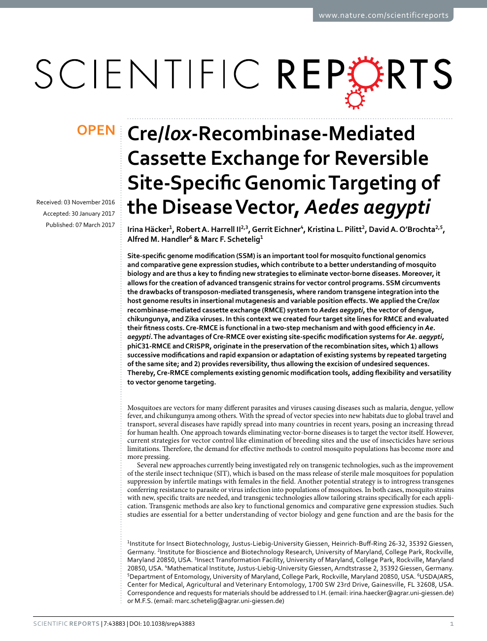 Cre/lox-Recombinase-Mediated Cassette Exchange for Reversible Site