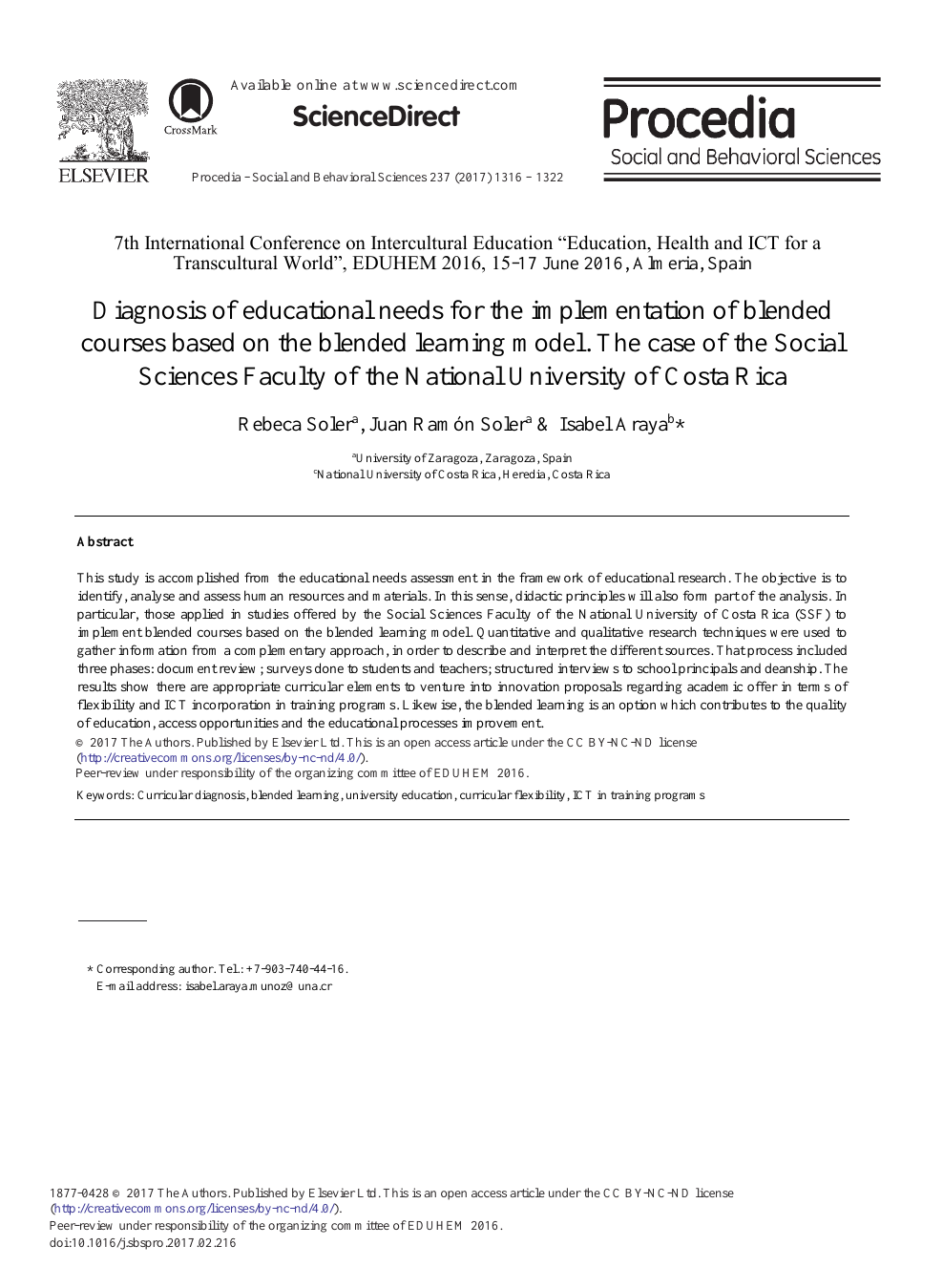 Diagnosis of Educational Needs for the Implementation of Blended ...