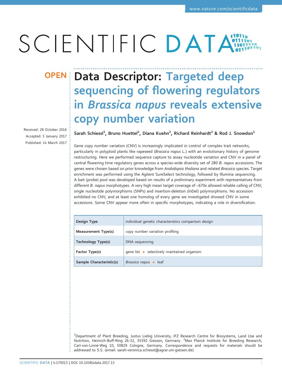 Targeted deep sequencing of flowering regulators in Brassica napus