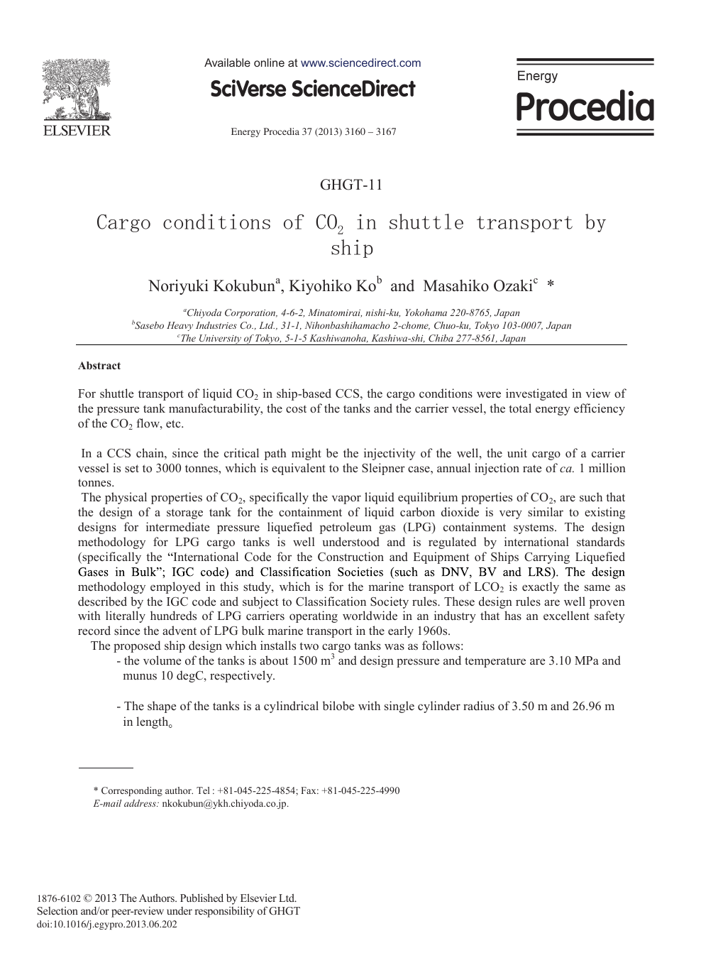 Cargo Conditions of CO2 in Shuttle Transport by Ship – topic