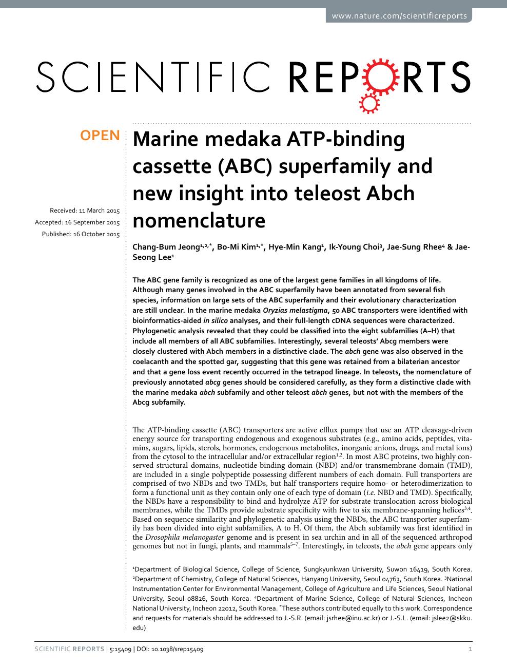 Marine medaka ATP-binding cassette (ABC) superfamily and new