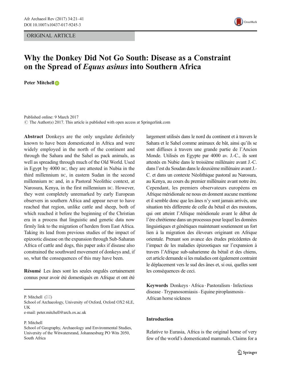 Why the Donkey Did Not Go South: Disease as a Constraint on