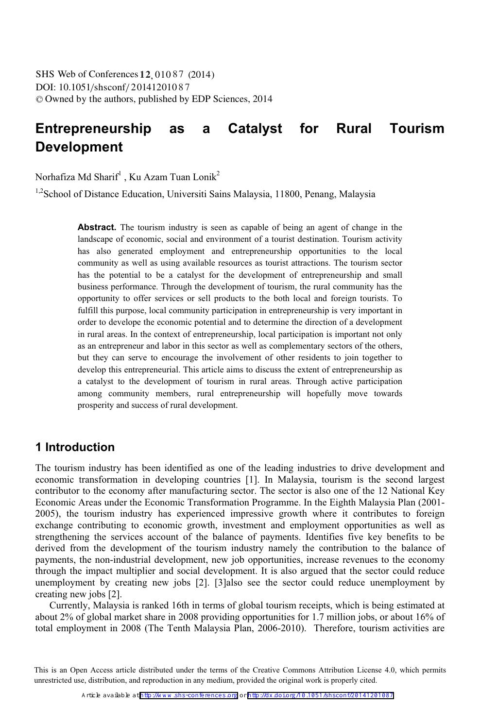 Entrepreneurship as a Catalyst for Rural Tourism Development – topic