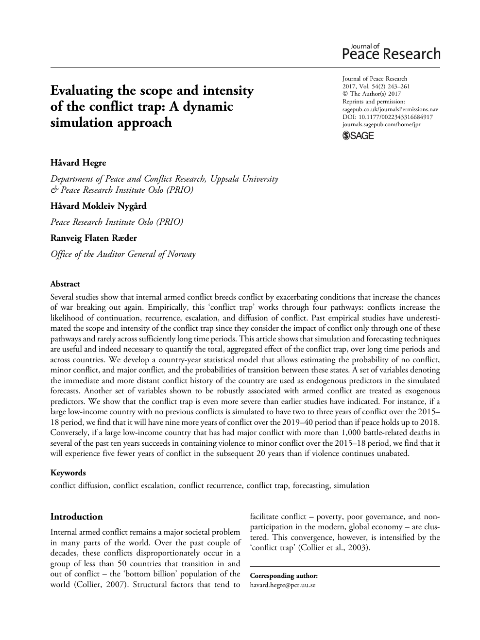 Evaluating the scope and intensity of the conflict trap – topic of