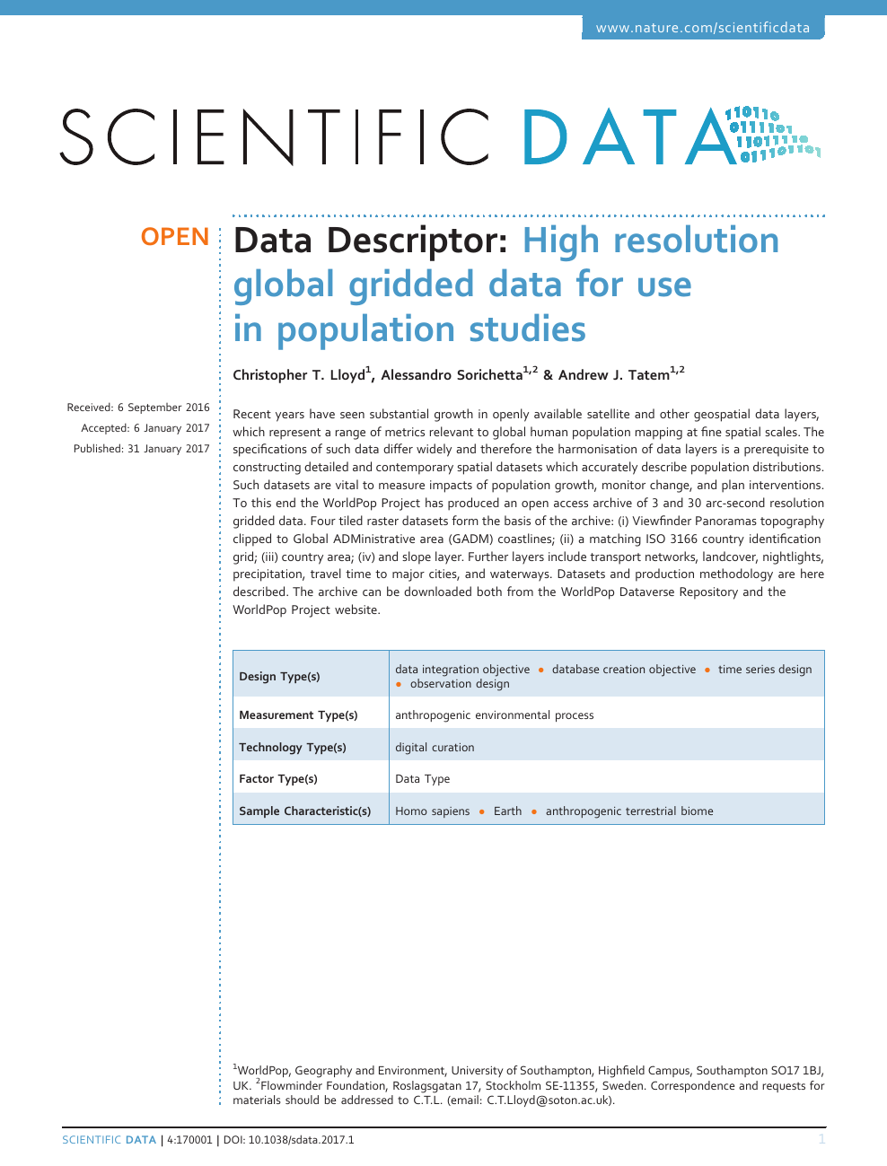 High Resolution Global Gridded Data For Use In Population Studies Topic Of Research Paper In Earth And Related Environmental Sciences Download Scholarly Article Pdf And Read For Free On Cyberleninka Open