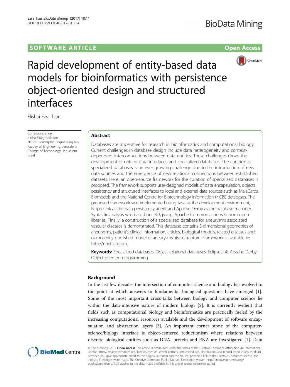 Rapid development of entity-based data models for