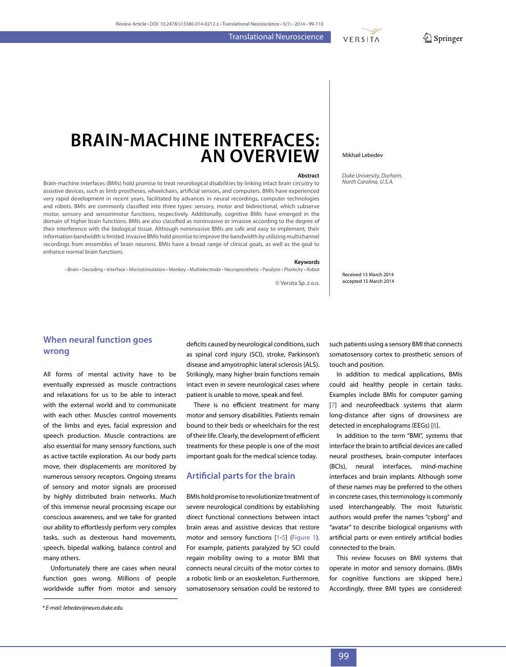 Brain-machine interfaces: an overview – topic of research