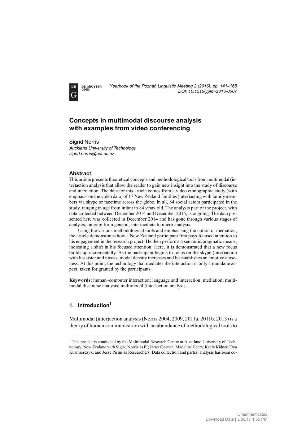 Concepts in multimodal discourse analysis with examples from video ...