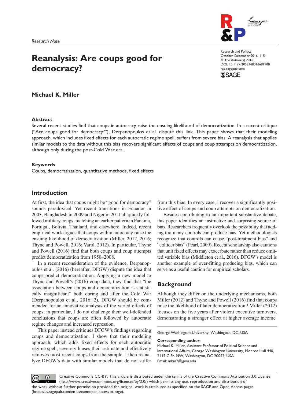 Reanalysis: Are coups good for democracy? – topic of