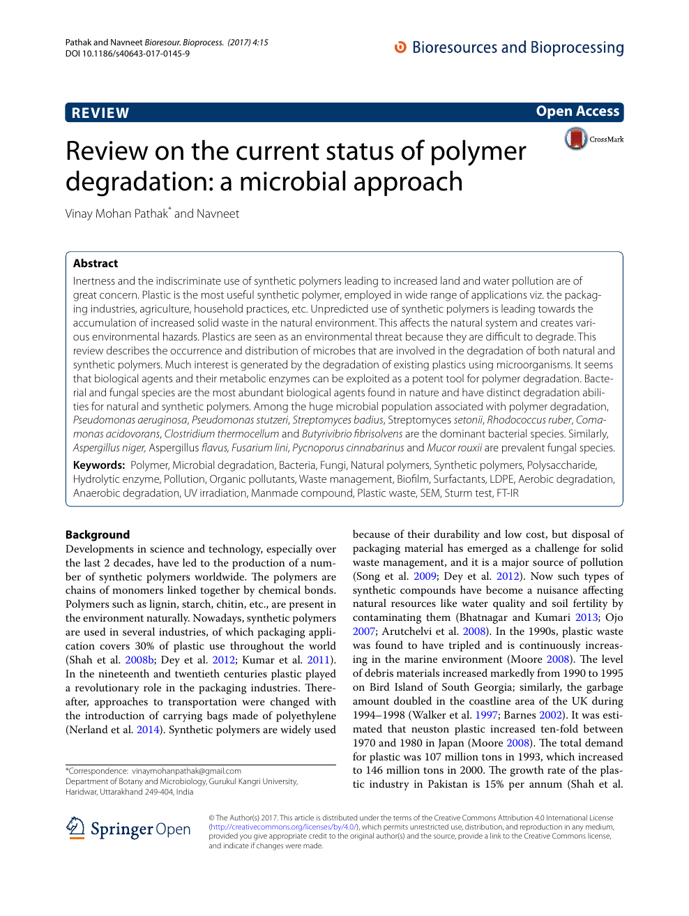 Review on the current status of polymer degradation: a